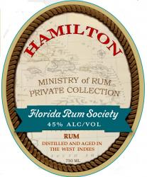 Hamilton Florida Rum Society label unavailable