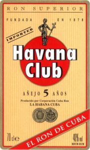 Havana Club Añejo 5 year old label unavailable