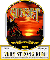 St. Vincent Sunset VERY STRONG Rum label unavailable